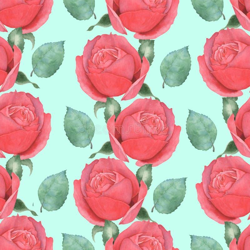 Sömlös modell av röda rosor för flygillustration för näbb dekorativ bild dess paper stycksvalavattenfärg hand-teckning 4 royaltyfri illustrationer