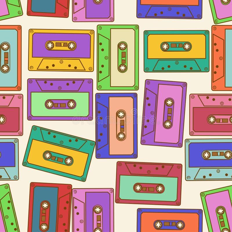 Sömlös modell av retro ljudkassetter royaltyfri illustrationer