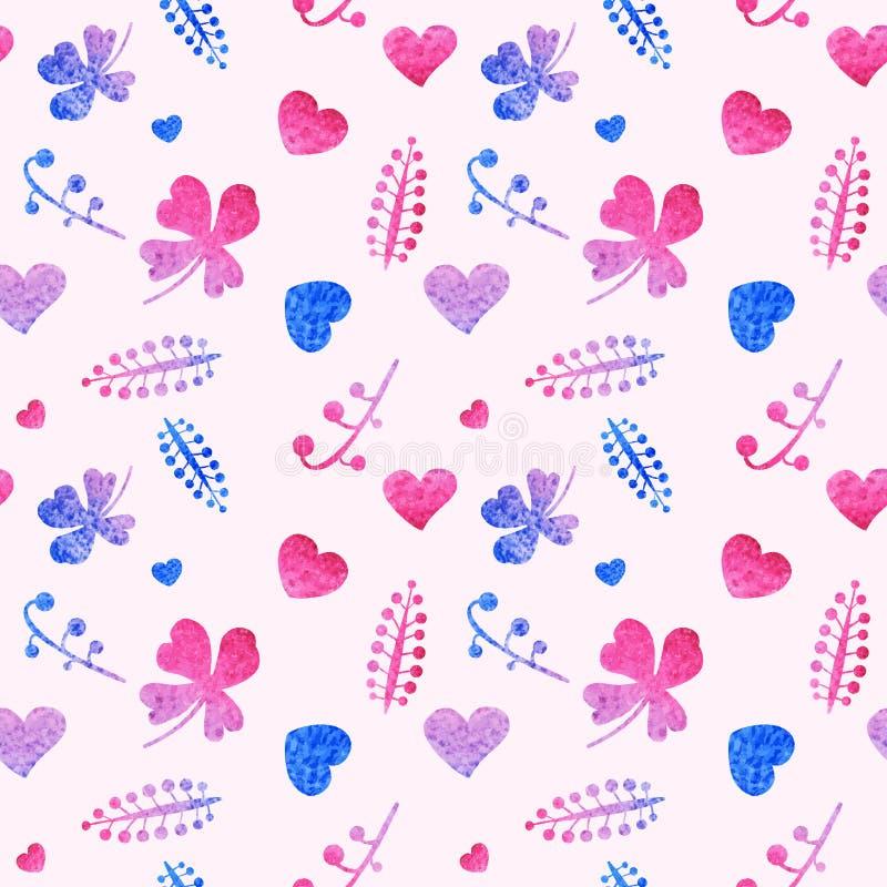 Sömlös modell av rosa hjärtor och blom- beståndsdelar stock illustrationer