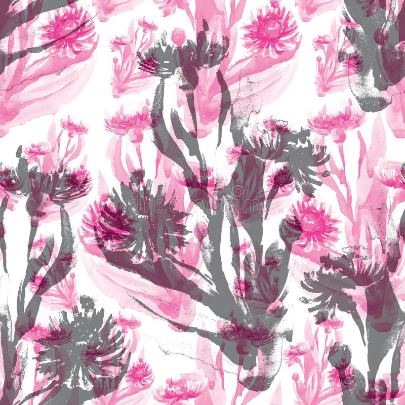 Sömlös modell av rosa och gråa havre-blommor royaltyfria bilder
