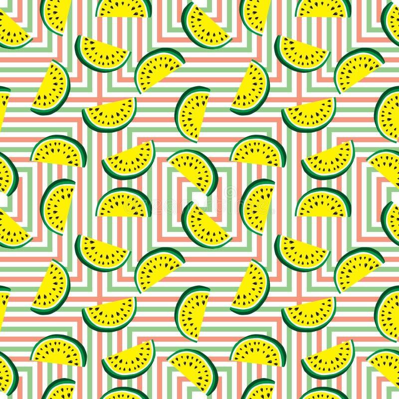 Sömlös modell av saftiga skivor av den gula vattenmelon och färgade geometriska fyrkanter Begrepp av Hello sommar royaltyfri illustrationer
