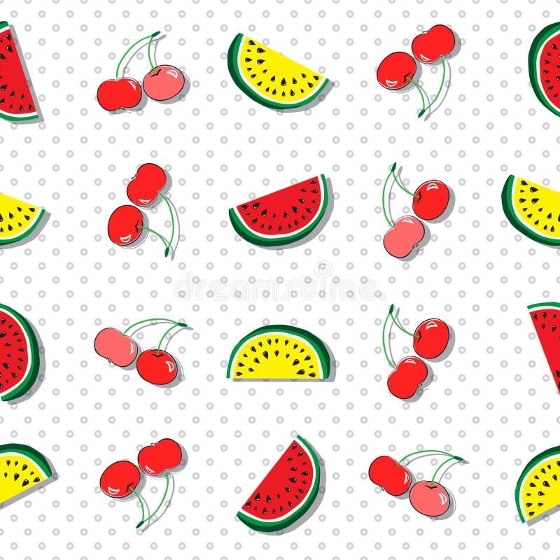 Sömlös modell av saftiga skivor av den röda och gula vattenmelon och körsbär Begrepp av Hello sommar stock illustrationer