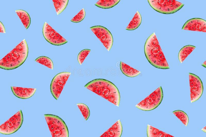 Sömlös modell av saftiga vattenmelonskivor på en blå bakgrund stock illustrationer