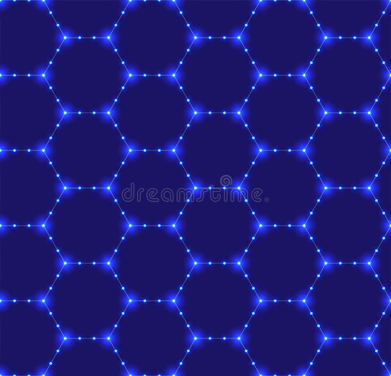 Sömlös modell av sexhörnigt förtjäna för neon Lysande partiklar futuristic textur Geometriskt modernt, teknologivektor stock illustrationer
