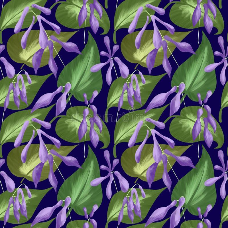 Sömlös modell av sidor och blommor av hostas på ett mörker - blå bakgrund Digital illustration stock illustrationer