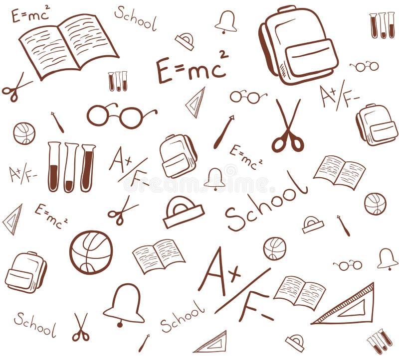 Sömlös modell av skolabeståndsdelar Isolerad vektorillustration stock illustrationer
