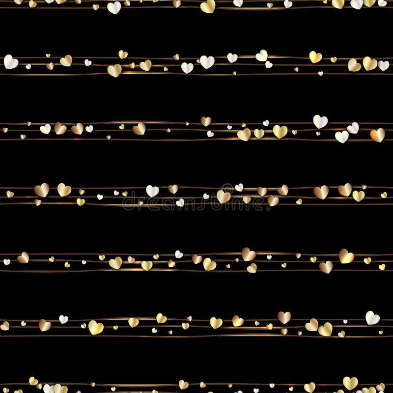 Sömlös modell av slumpmässiga guld- hjärtor stock illustrationer