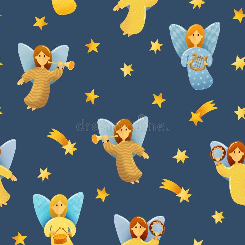 Sömlös modell av små änglar med vingar stock illustrationer