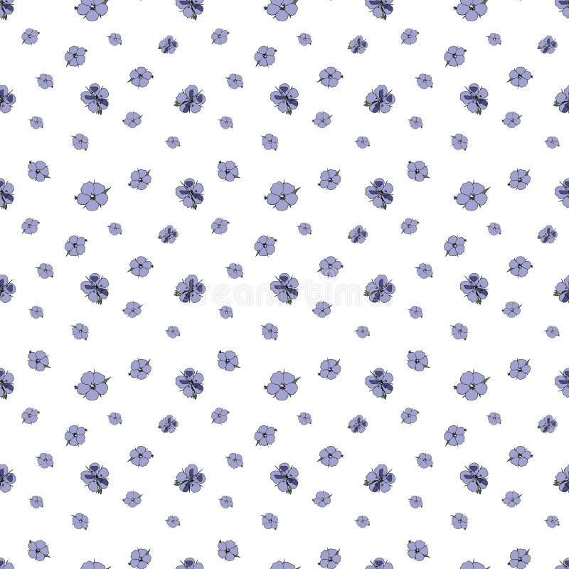 Sömlös modell av små lila blommor på vit bakgrund Pelargonpratense royaltyfri illustrationer