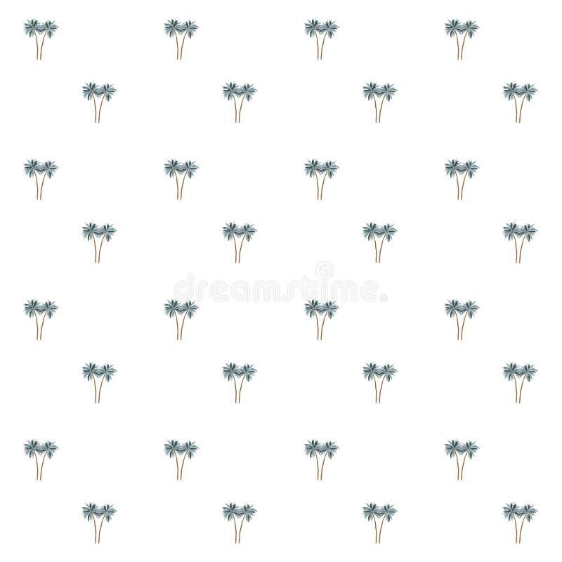 Sömlös modell av små palmträd på en vit bakgrund vektor illustrationer