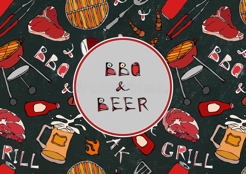Sömlös modell av sommarBBQ och ölpartiet Biff korv, grillfestraster, tång, gaffel, brand, ketchup Svart brädebakgrund a stock illustrationer