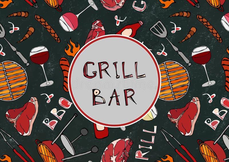 Sömlös modell av sommargallret och stångpartiet Biff korv, grillfestraster, tång, gaffel, brand, ketchup Svart brädebakgrund royaltyfri illustrationer