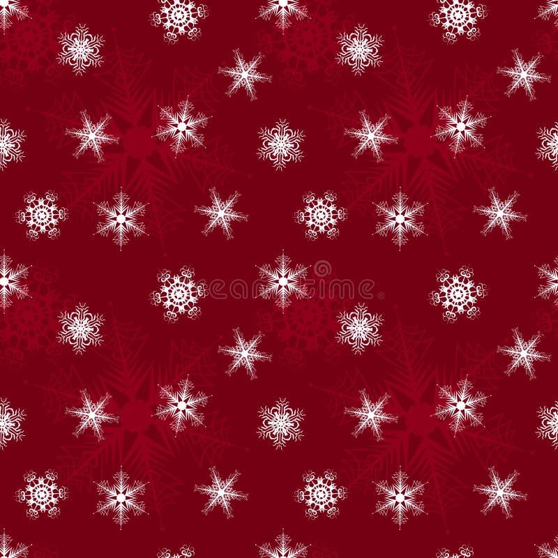 Sömlös modell av spets- snöflingor på en röd bakgrund stock illustrationer