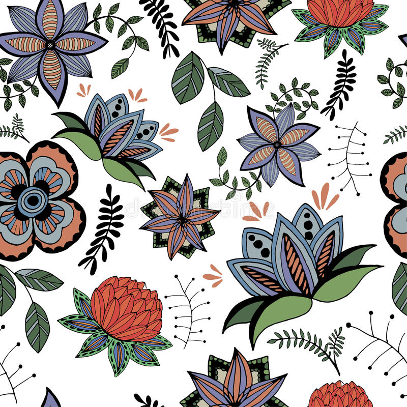 Sömlös modell av stiliserade blommor i en retro stil stock illustrationer
