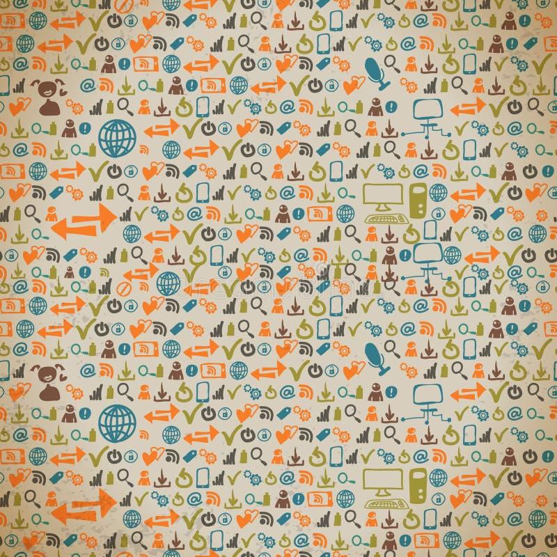 Sömlös modell av symbolerna på internet i tappning vektor illustrationer