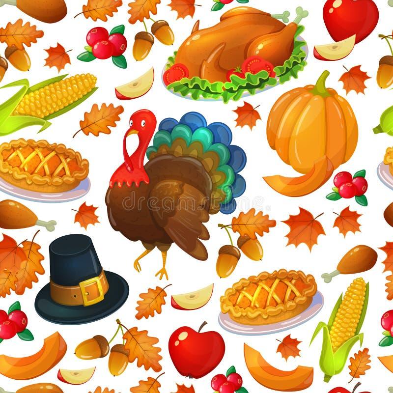 Sömlös modell av tacksägelsesymboler vektor illustrationer