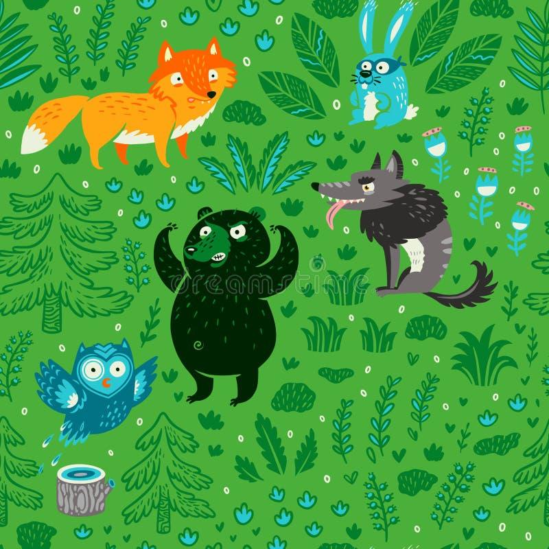 Sömlös modell av tecknad filmskogdjur och växter illustrat?ren f?r illustrationen f?r handen f?r borstekol g?r teckningen tecknad royaltyfri bild