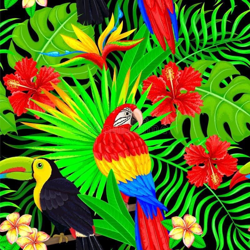 Sömlös modell av tropiska fågelsidor och blommor på svart vektor illustrationer
