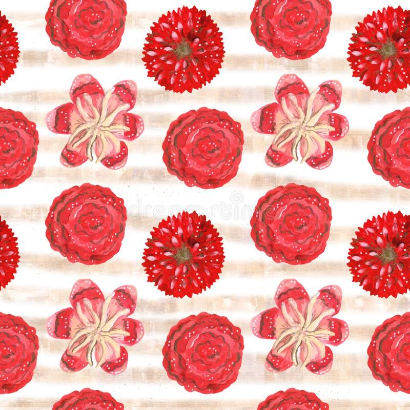 Sömlös modell av tropiska för gouache röda dekorativa och mexikanska blommor vektor illustrationer