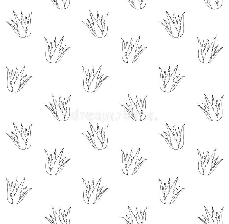 Sömlös modell av utdragen aloe för grön hand i kruka royaltyfri illustrationer