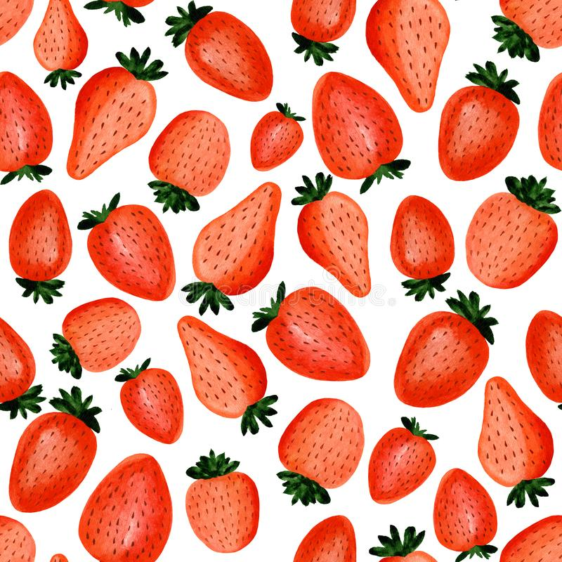 Sömlös modell av utdragna härliga jordgubbar för abstrakt vattenfärghand på vit bakgrund vektor illustrationer