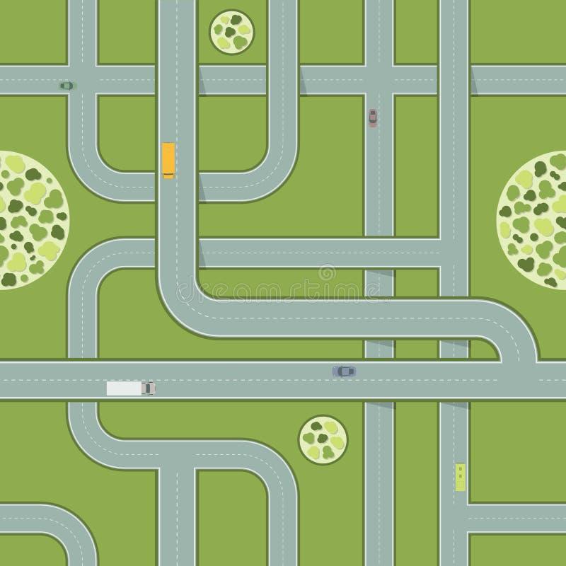 Sömlös modell av vägar med bilar flyg- huvudvägsikt royaltyfri illustrationer