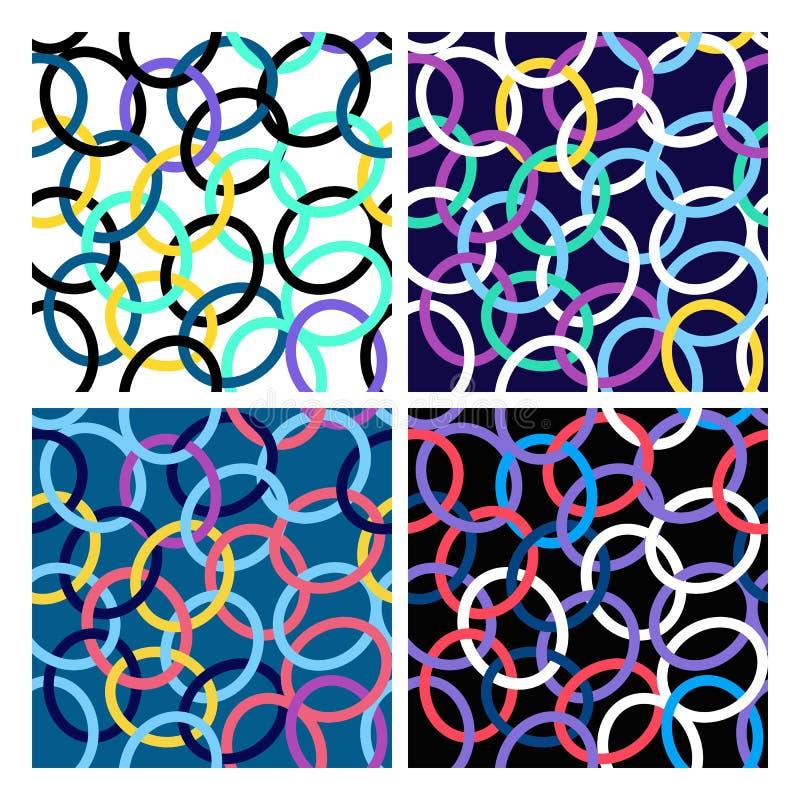 Sömlös modell av vävde samman cirklar royaltyfri illustrationer