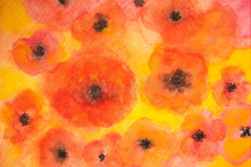 Sömlös modell av vattenfärgblommor i röda, orange och gula färger arkivfoton