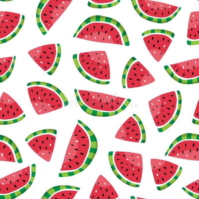 Sömlös modell av vattenmelonskivor i den hand drog stilen stock illustrationer
