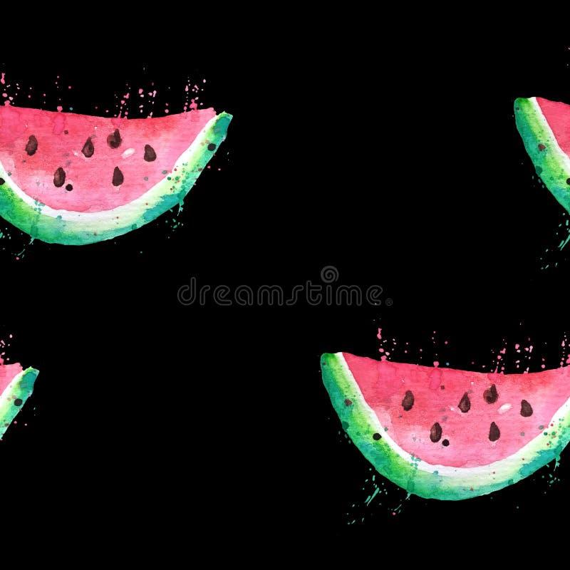 Sömlös modell av vattenmelonskivor som dras i vattenfärg på en svart bakgrund royaltyfri illustrationer
