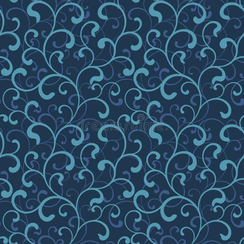 Sömlös modell av virvlar på ett mörker - blå bakgrund Havsstil royaltyfri illustrationer