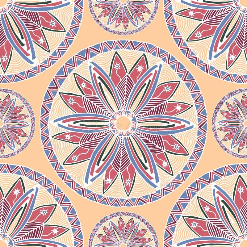 Sömlös modell av zentangle och klottret för färgmandalastil royaltyfri illustrationer