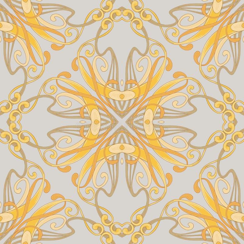 Sömlös modell, bakgrund med den blom- prydnaden i jugendstilstil, royaltyfri illustrationer