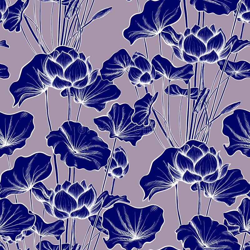 Sömlös modell, bakgrund med lotusblommablomman Botanisk illust vektor illustrationer