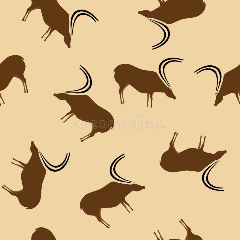 Sömlös modell beige bg för primitiva hjortteckningar vektor illustrationer