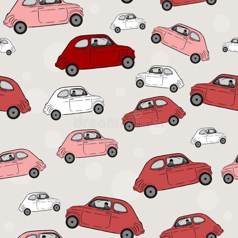 Sömlös modell, bilar stock illustrationer