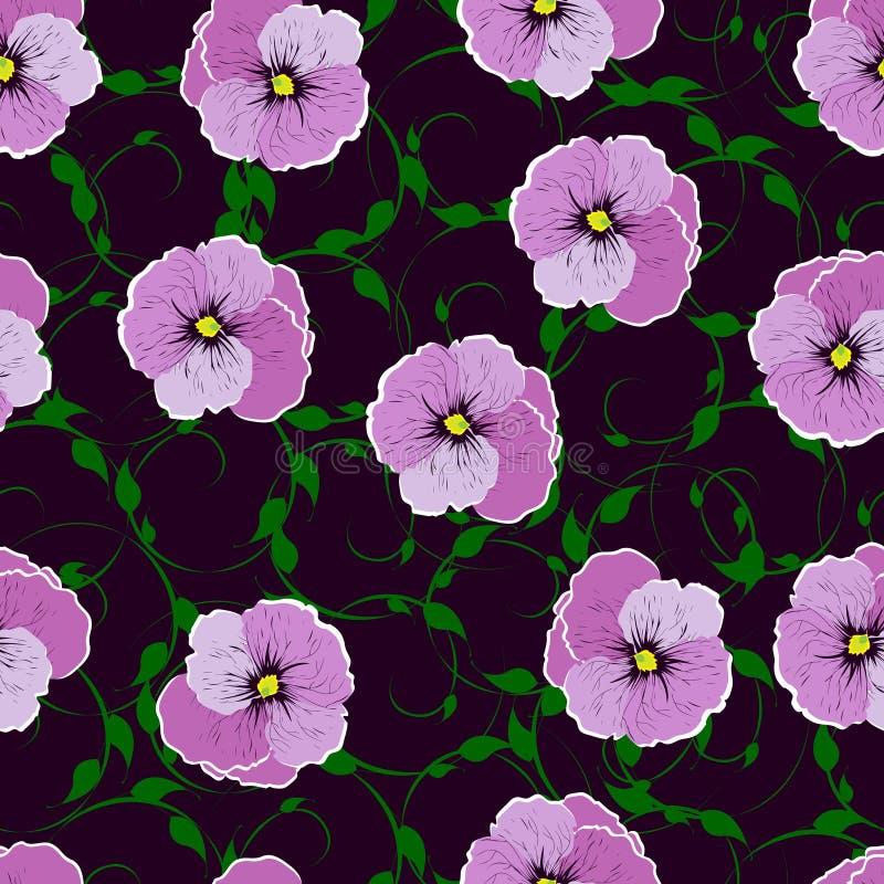 Sömlös modell, blommor mot en mörk bakgrund royaltyfri bild