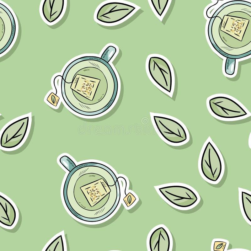 Sömlös modell Eco för vänlig brunnsort med grönt te och sidor G?r den gr?na uppeh?llet royaltyfri illustrationer