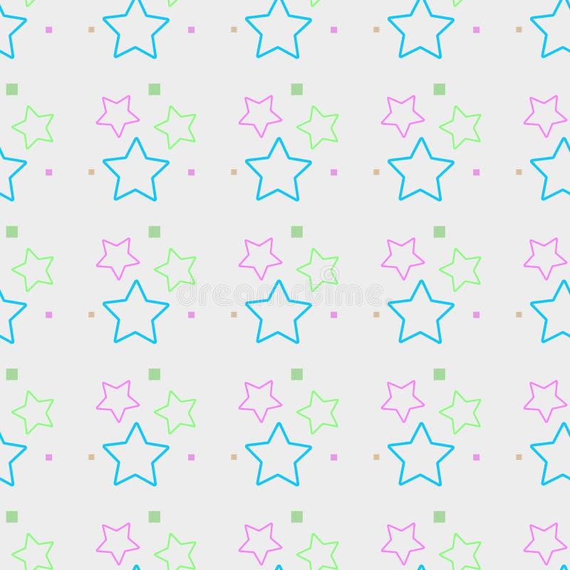 Sömlös modell, färgrik stjärnabakgrund, pastellfärgade färger på vit eps 10 stock illustrationer