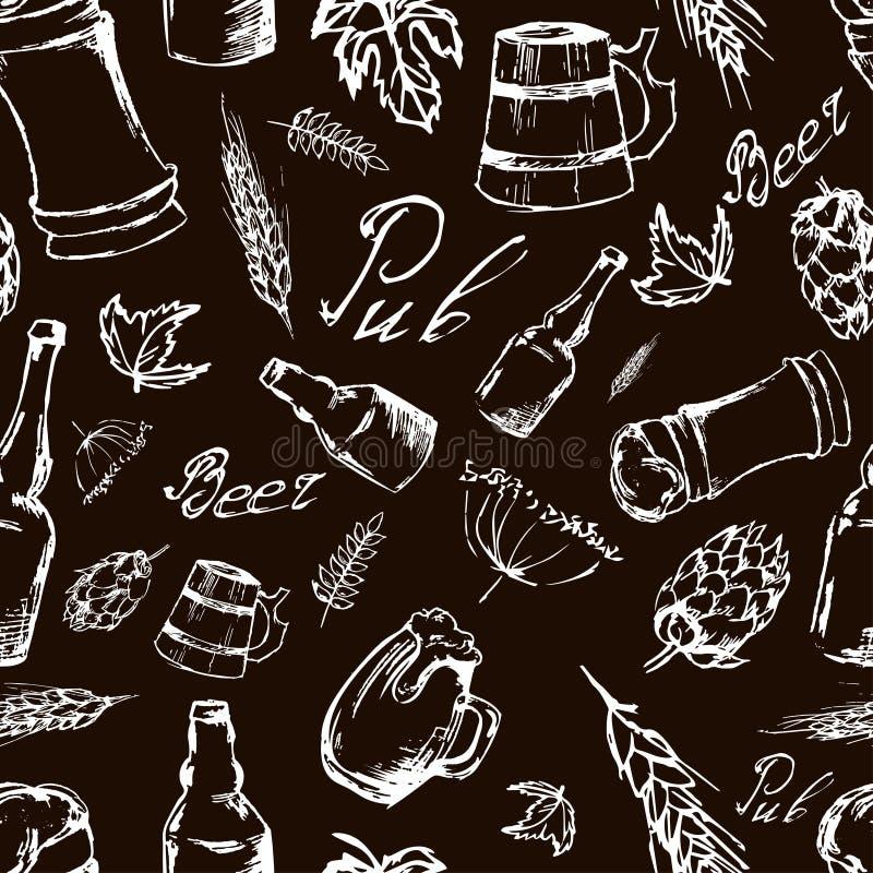 Sömlös modell för öl på svart backgroun Vektortextur i hand vektor illustrationer