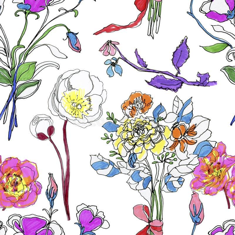 Sömlös modell för abstrakt elegans med blom- bakgrund royaltyfri illustrationer
