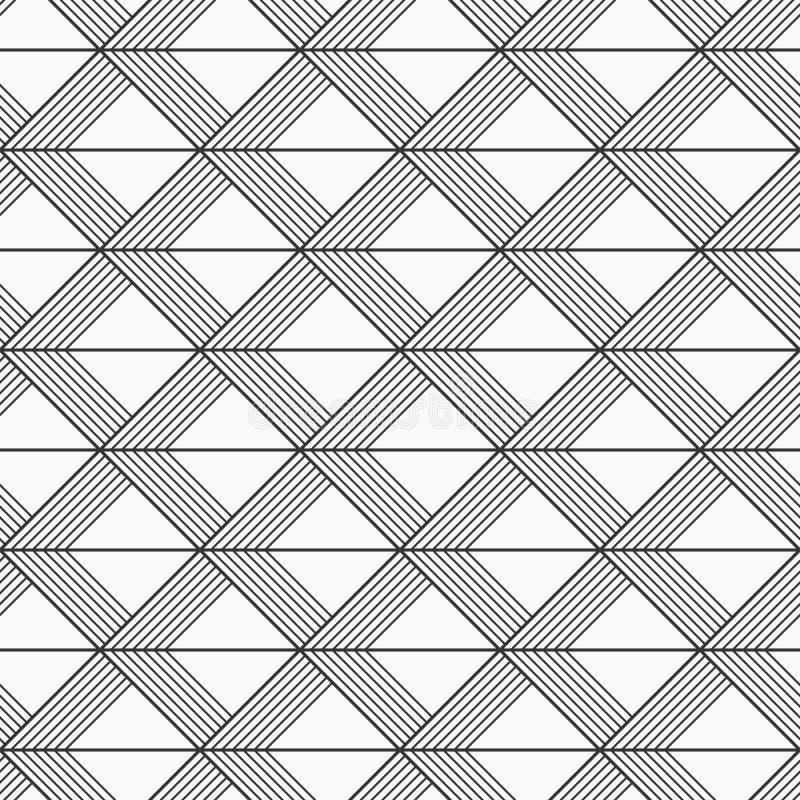 Sömlös modell för abstrakt geometrisk modell Gjorde randig trianglar smyckar Vektormonokrombakgrund royaltyfri illustrationer