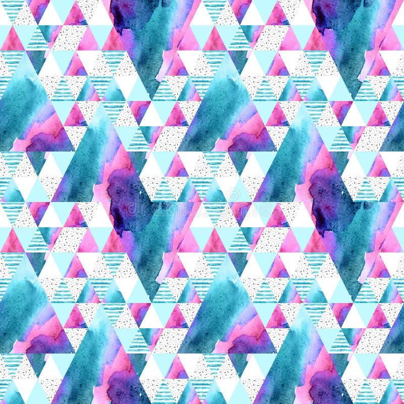 Sömlös modell för abstrakt geometrisk vattenfärg royaltyfri illustrationer