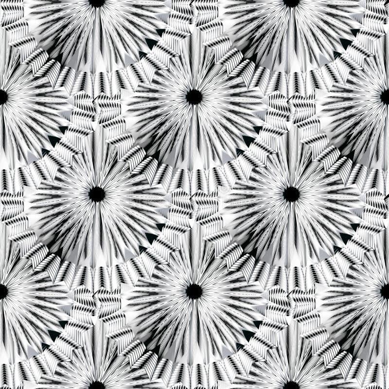 Sömlös modell för abstrakt radiell vektor för former svartvit Belagd med tegel rund mandalasbakgrund Geometrisk repetitionbakgrun vektor illustrationer