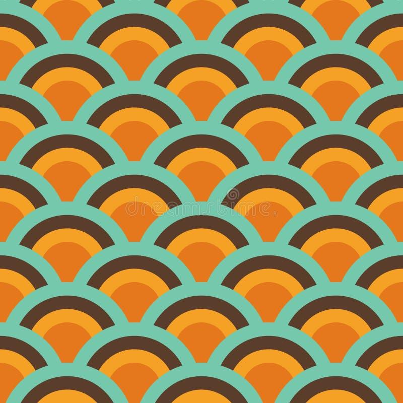 Sömlös modell för abstrakt Retro sömlös Backround orange brun blå tappning som upprepar modellen royaltyfri illustrationer