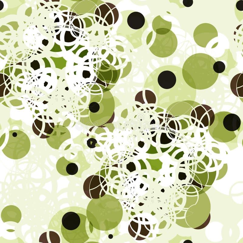 Sömlös modell för abstrakt textil av färgrika gröna prickar stock illustrationer