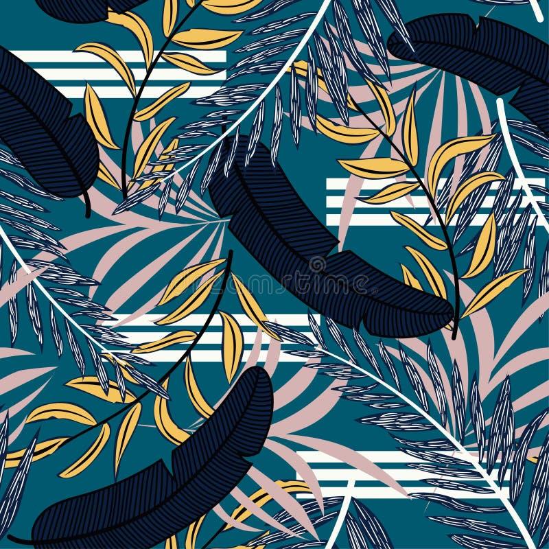 Sömlös modell för abstrakt trend med ljusa tropiska sidor och växter f?r designeps f?r 10 bakgrund vektor f?r tech Djungeltryck v royaltyfri illustrationer