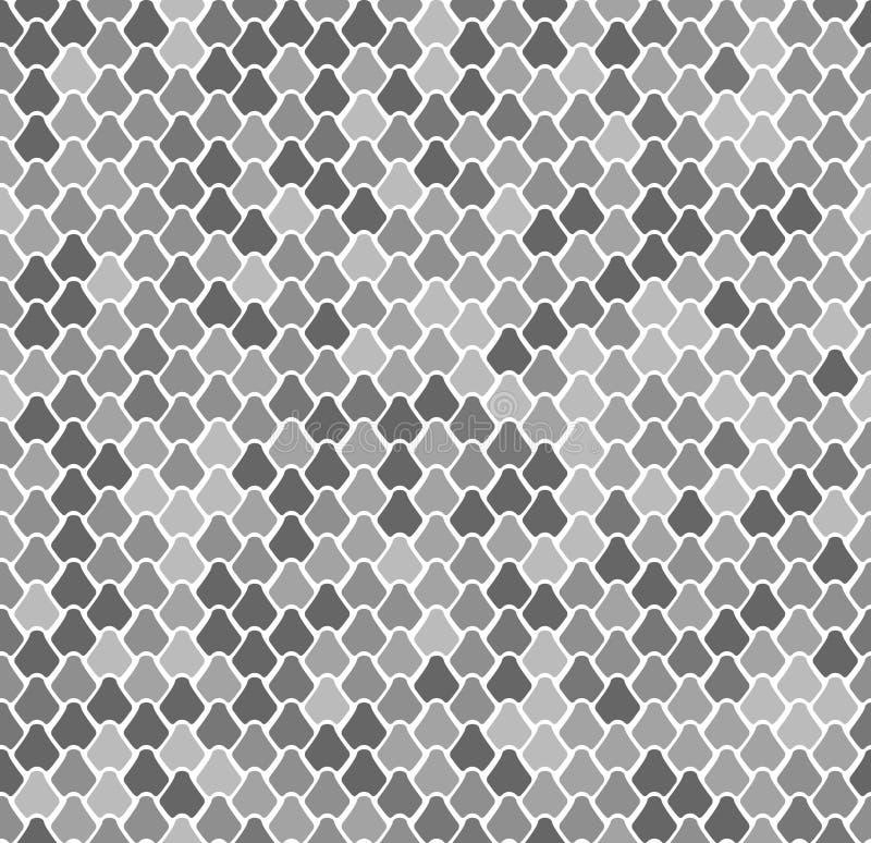 Sömlös modell för abstrakt vektor med fiskvåg Reptil orm, ödla, sjöjungfrusvans, drakehudtextur Gråa Natral stock illustrationer