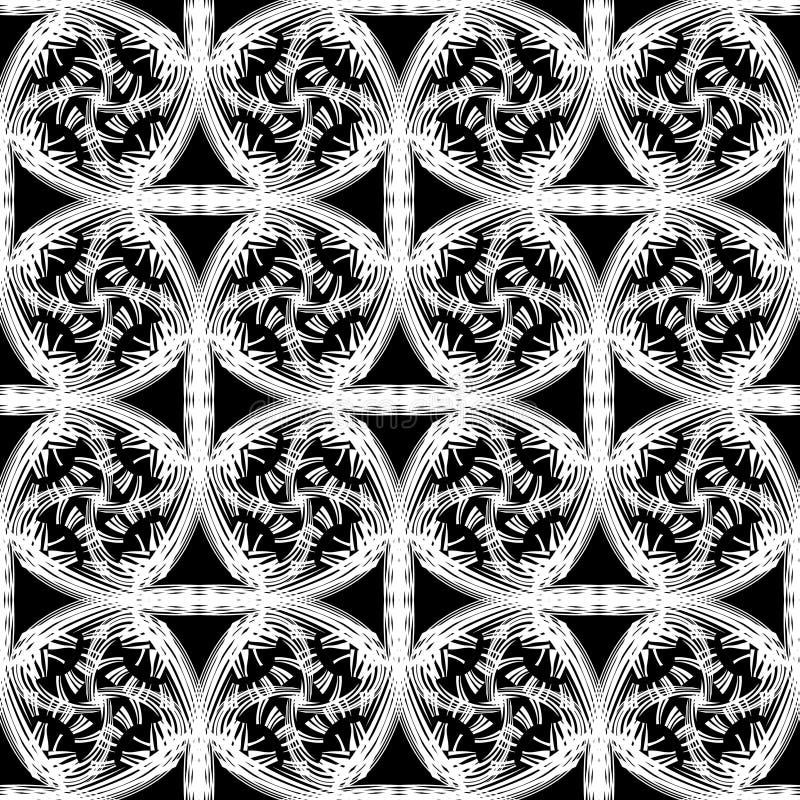 Sömlös modell för abstrakt vektor med krullande linjer och raster Dekorativ ändlös textur royaltyfri illustrationer