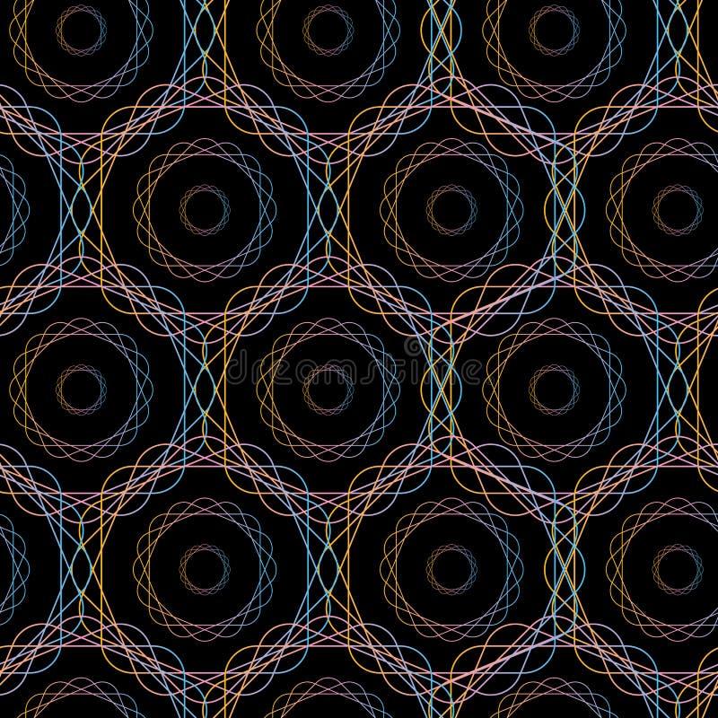 Sömlös modell för abstrakta cirklar för sexhörning geometriska, royaltyfri illustrationer